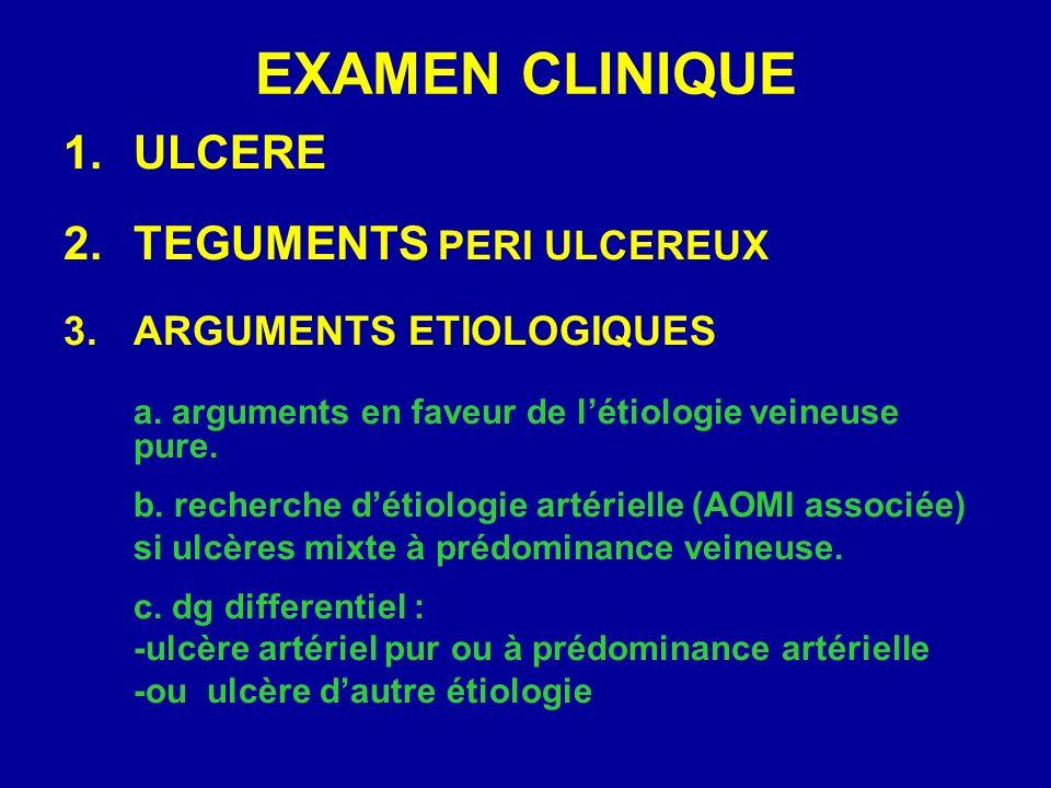 EXAMEN CLINIQUE 1.ULCERE 2.TEGUMENTS PERI ULCEREUX 3.ARGUMENTS ETIOLOGIQUES a. arguments en faveur de létiologie veineuse pure. b. recherche détiologi