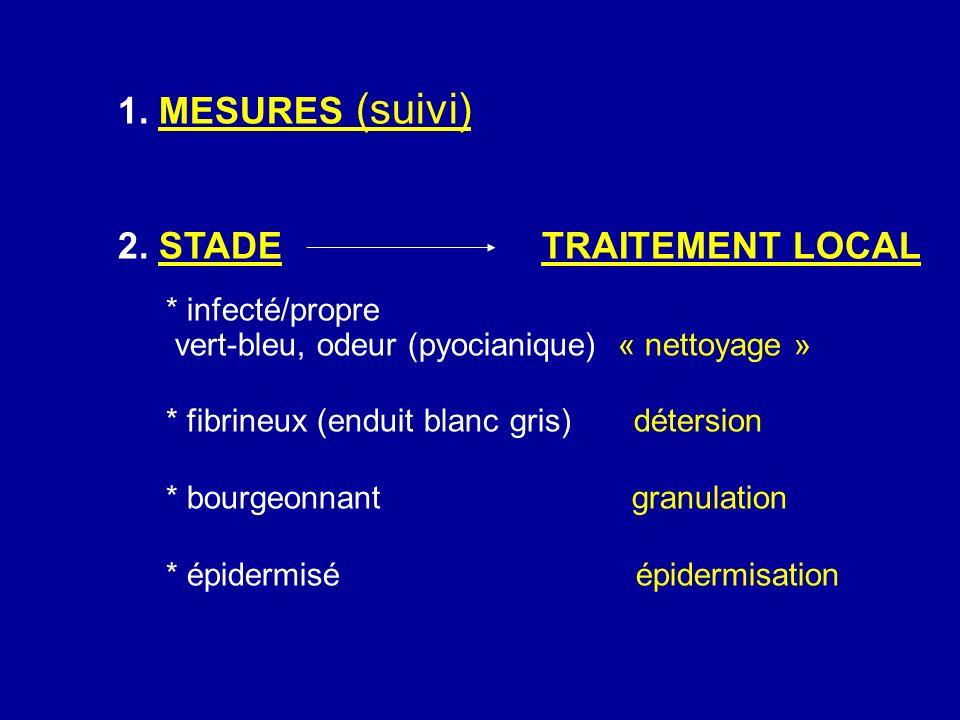 1. MESURES (suivi) 2. STADETRAITEMENT LOCAL * infecté/propre vert-bleu, odeur (pyocianique) « nettoyage » * fibrineux (enduit blanc gris) détersion *