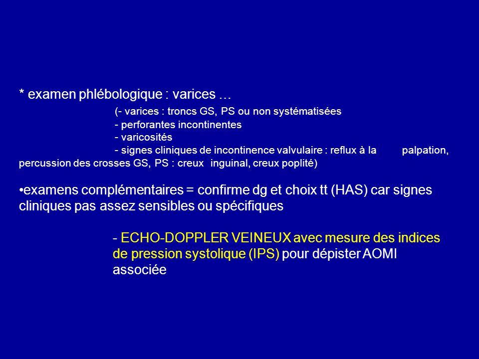 * examen phlébologique : varices … (- varices : troncs GS, PS ou non systématisées - perforantes incontinentes - varicosités - signes cliniques de inc