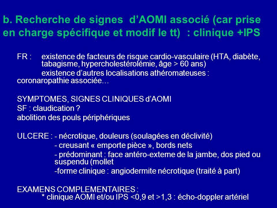b. Recherche de signes dAOMI associé (car prise en charge spécifique et modif le tt) : clinique +IPS FR : existence de facteurs de risque cardio-vascu