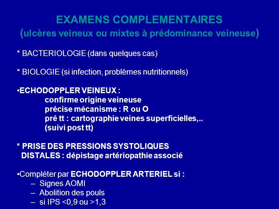 EXAMENS COMPLEMENTAIRES ( ulcères veineux ou mixtes à prédominance veineuse ) * BACTERIOLOGIE (dans quelques cas) * BIOLOGIE (si infection, problèmes