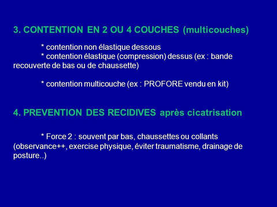 3. CONTENTION EN 2 OU 4 COUCHES (multicouches) * contention non élastique dessous * contention élastique (compression) dessus (ex : bande recouverte d