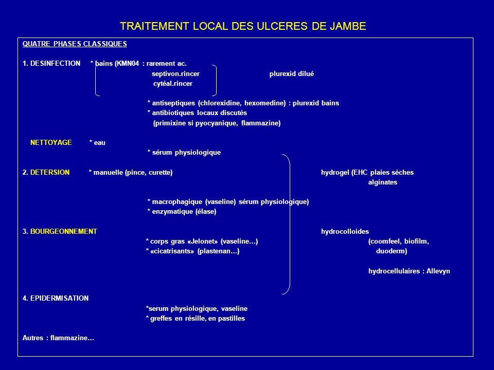 TRAITEMENT LOCAL DES ULCERES DE JAMBE QUATRE PHASES CLASSIQUES 1. DESINFECTION * bains (KMN04 : rarement ac. septivon.rincerplurexid dilué cytéal.rinc
