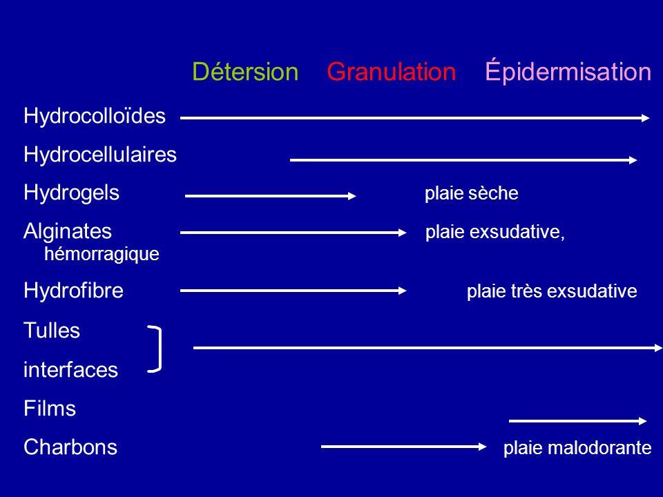 Détersion Granulation Épidermisation Hydrocolloïdes Hydrocellulaires Hydrogels plaie sèche Alginates plaie exsudative, hémorragique Hydrofibre plaie t