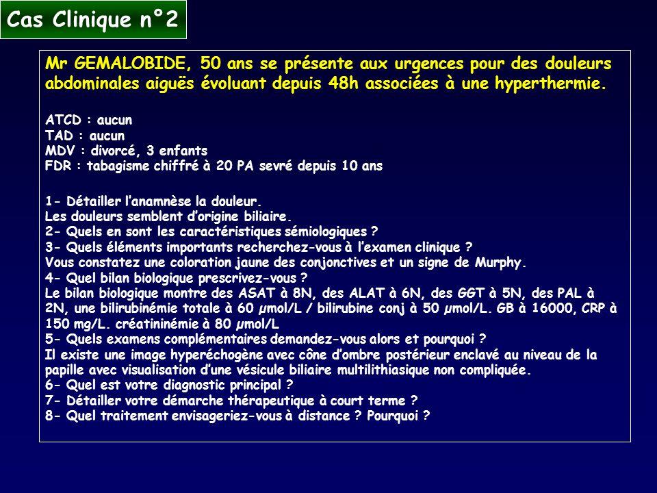 Mr GEMALOBIDE, 50 ans se présente aux urgences pour des douleurs abdominales aiguës évoluant depuis 48h associées à une hyperthermie. ATCD : aucun TAD