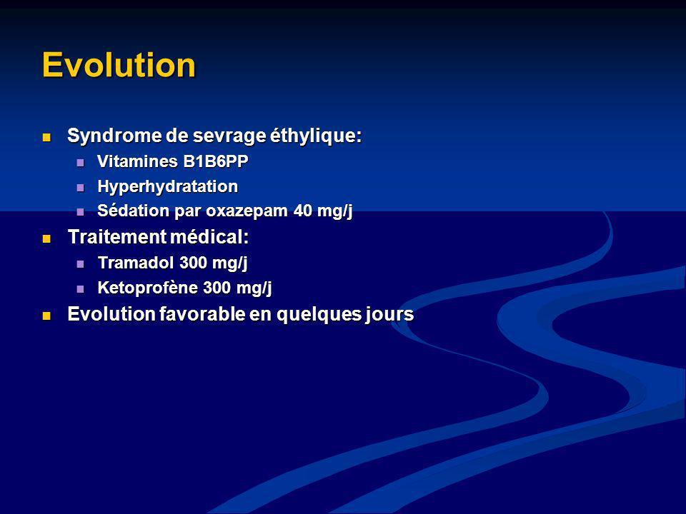 Evolution Syndrome de sevrage éthylique: Syndrome de sevrage éthylique: Vitamines B1B6PP Vitamines B1B6PP Hyperhydratation Hyperhydratation Sédation p