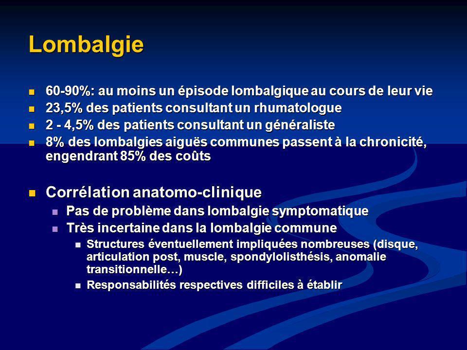 Lombalgie 60-90%: au moins un épisode lombalgique au cours de leur vie 60-90%: au moins un épisode lombalgique au cours de leur vie 23,5% des patients
