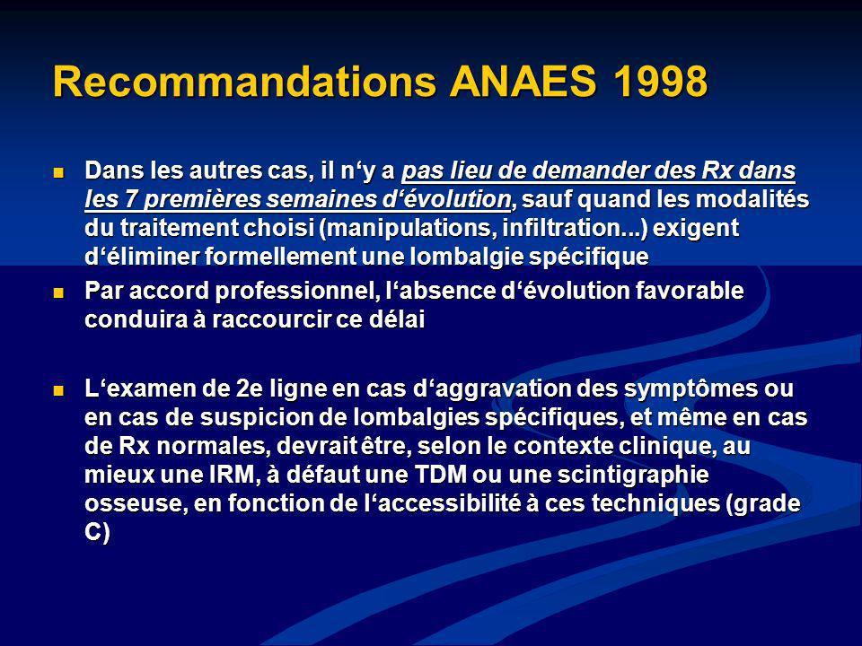 Recommandations ANAES 1998 Dans les autres cas, il ny a pas lieu de demander des Rx dans les 7 premières semaines dévolution, sauf quand les modalités