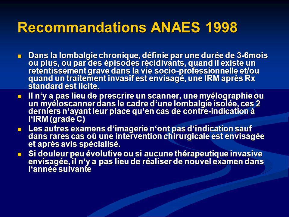 Recommandations ANAES 1998 Dans la lombalgie chronique, définie par une durée de 3-6mois ou plus, ou par des épisodes récidivants, quand il existe un
