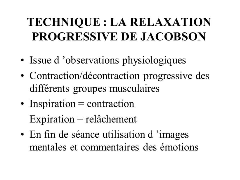 TECHNIQUE : LA RELAXATION PROGRESSIVE DE JACOBSON Issue d observations physiologiques Contraction/décontraction progressive des différents groupes mus