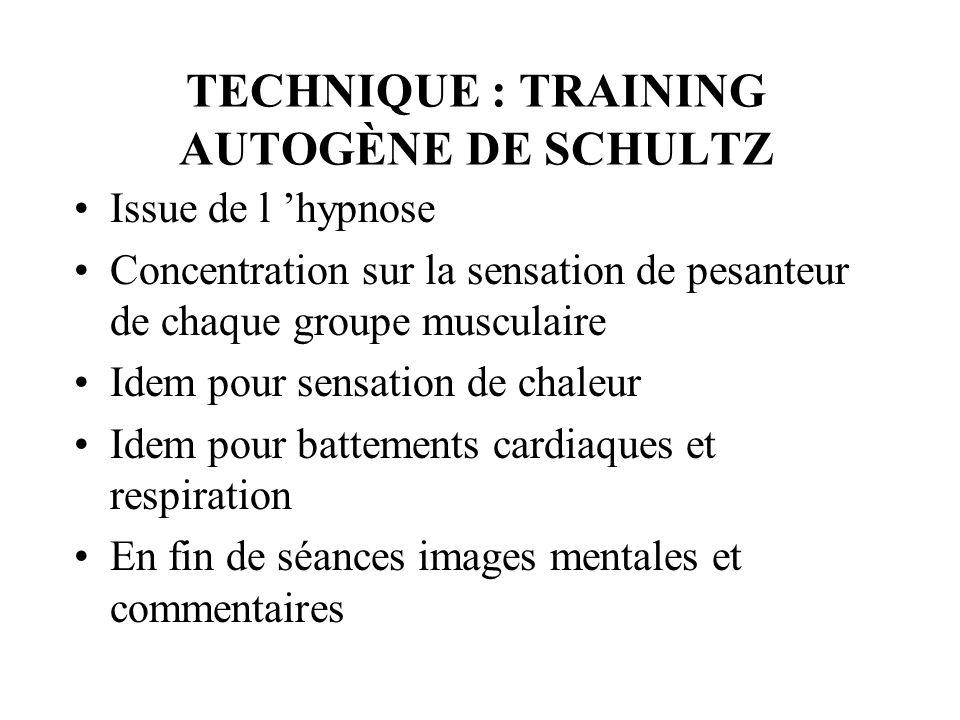 TECHNIQUE : TRAINING AUTOGÈNE DE SCHULTZ Issue de l hypnose Concentration sur la sensation de pesanteur de chaque groupe musculaire Idem pour sensatio
