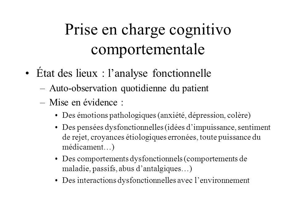 Prise en charge cognitivo comportementale État des lieux : lanalyse fonctionnelle –Auto-observation quotidienne du patient –Mise en évidence : Des émo