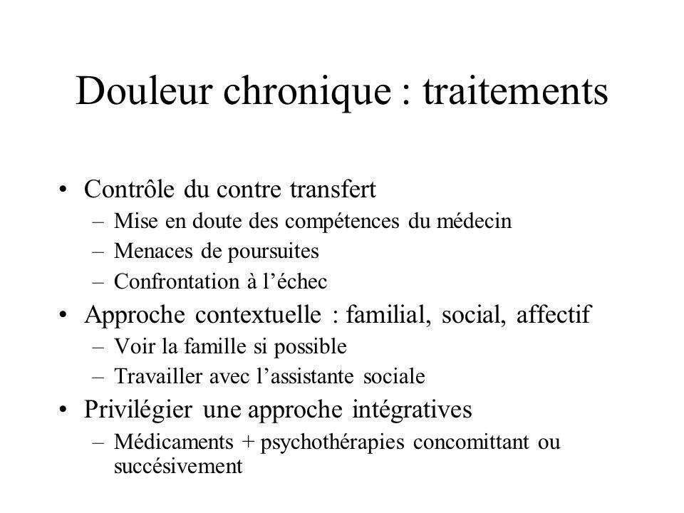 Douleur chronique : traitements Contrôle du contre transfert –Mise en doute des compétences du médecin –Menaces de poursuites –Confrontation à léchec