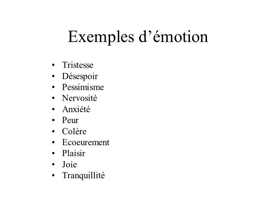 Exemples démotion Tristesse Désespoir Pessimisme Nervosité Anxiété Peur Colère Ecoeurement Plaisir Joie Tranquillité