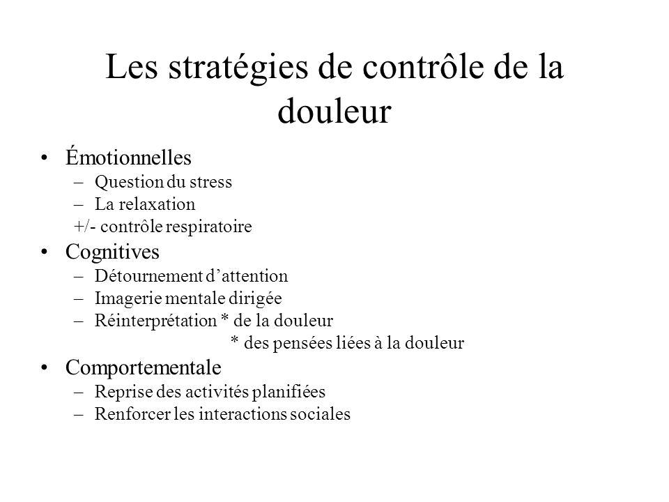 Les stratégies de contrôle de la douleur Émotionnelles –Question du stress –La relaxation +/- contrôle respiratoire Cognitives –Détournement dattentio