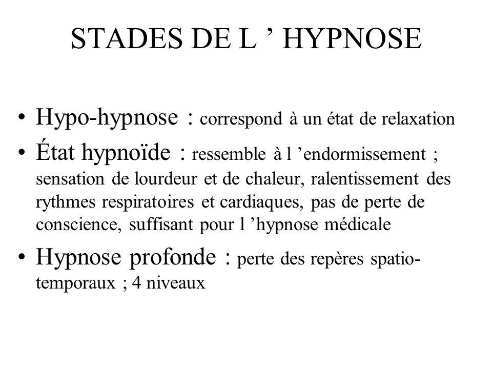 STADES DE L HYPNOSE Hypo-hypnose : correspond à un état de relaxation État hypnoïde : ressemble à l endormissement ; sensation de lourdeur et de chale