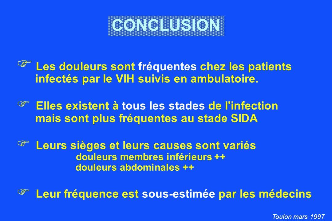 Toulon mars 1997 CONCLUSION Les douleurs sont fréquentes chez les patients infectés par le VIH suivis en ambulatoire.