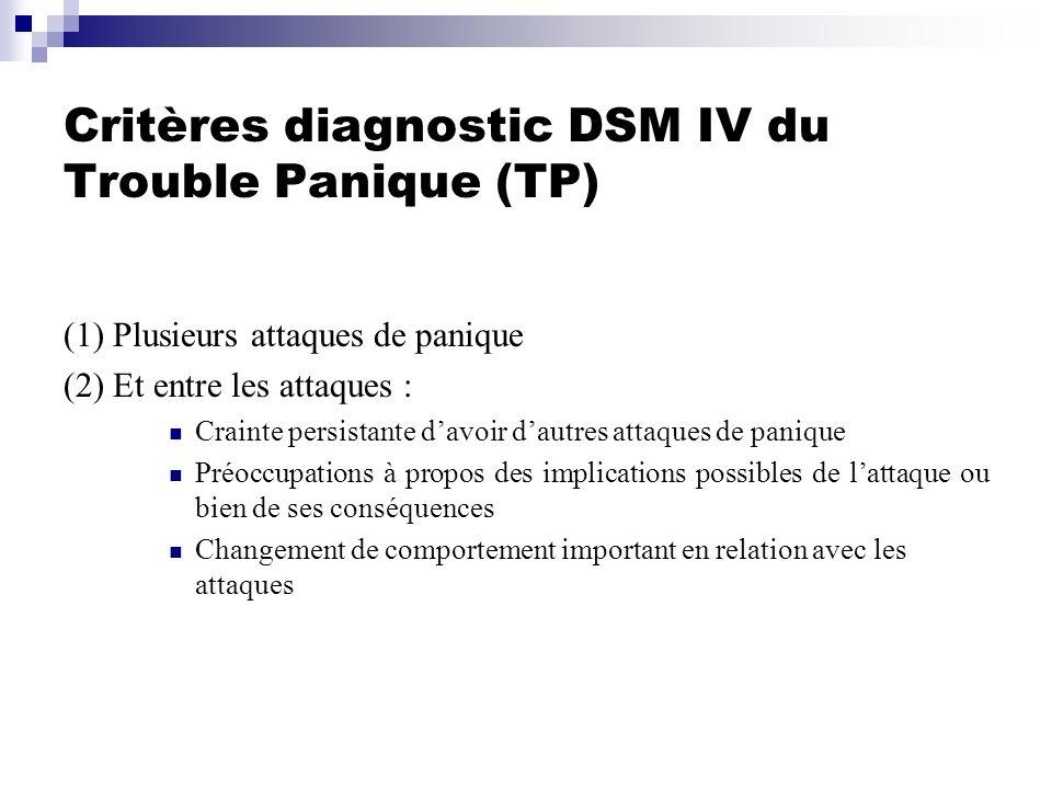 Critères diagnostic DSM IV du Trouble Panique (TP) (1) Plusieurs attaques de panique (2) Et entre les attaques : Crainte persistante davoir dautres at