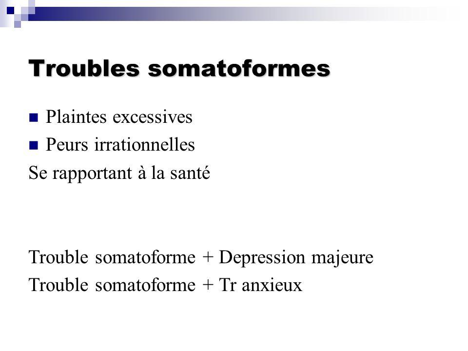 Troubles somatoformes Plaintes excessives Peurs irrationnelles Se rapportant à la santé Trouble somatoforme + Depression majeure Trouble somatoforme +