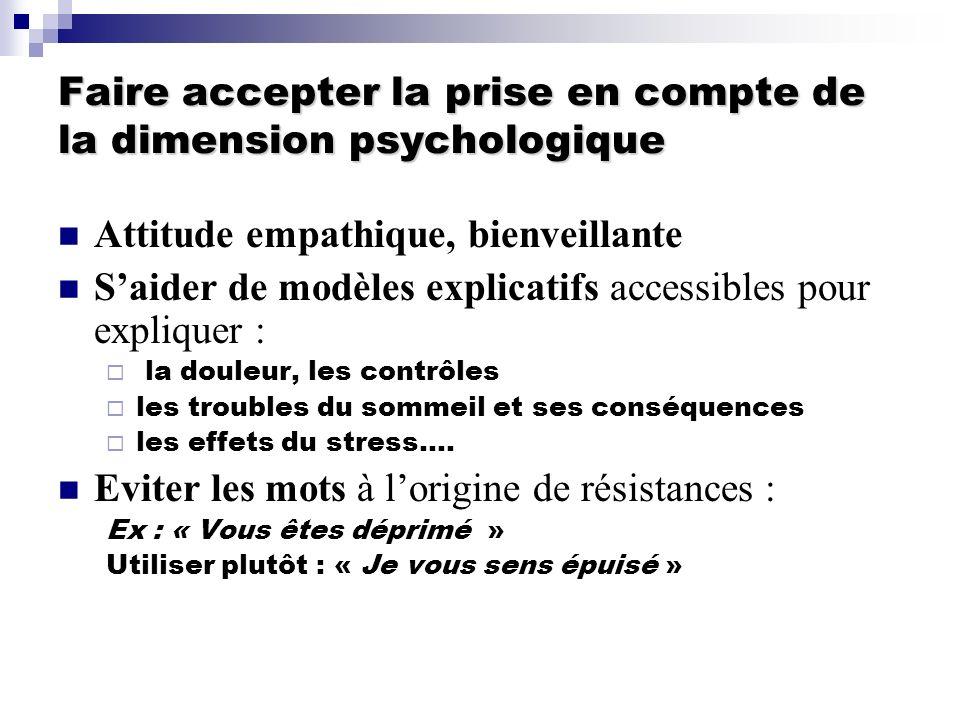 Faire accepter la prise en compte de la dimension psychologique Attitude empathique, bienveillante Saider de modèles explicatifs accessibles pour expl