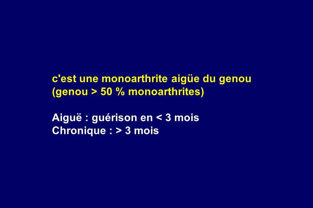 c'est une monoarthrite aigüe du genou (genou > 50 % monoarthrites) Aiguë : guérison en < 3 mois Chronique : > 3 mois