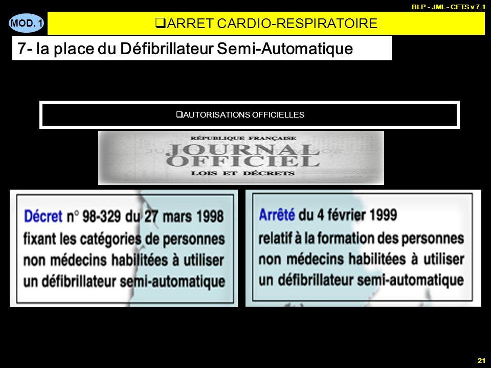 MOD. 1 BLP - JML - CFTS v 7.1 20 LES EXPERIENCES FRANCAISES 1993-1998 FV ARRET CARDIO-RESPIRATOIRE 7- la place du Défibrillateur Semi-Automatique