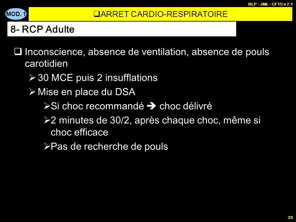 MOD. 1 BLP - JML - CFTS v 7.1 22 Personnes habilitées à utiliser un D.S.A ( j.o.du 27/03/1998) Les infirmier(e)s. Les masseurs kinésithérapeutes. Les