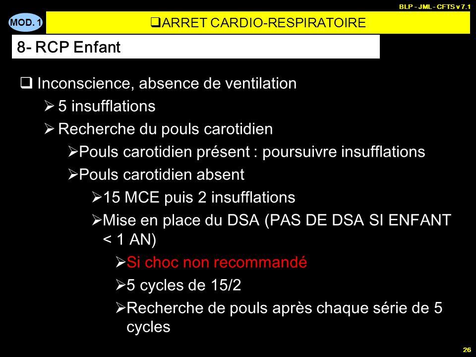 MOD. 1 BLP - JML - CFTS v 7.1 25 Inconscience, absence de ventilation 5 insufflations Recherche du pouls carotidien Pouls carotidien présent : poursui