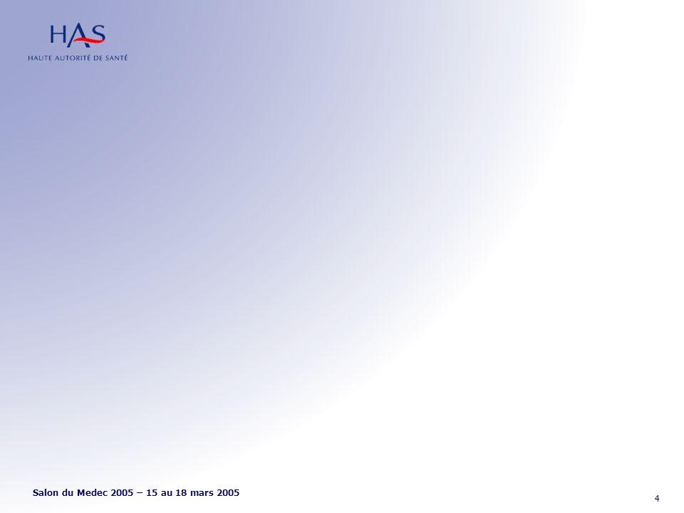 CCQ Céphalées Chroniques Quotidiennes Prise en charge En préalable à la prise en charge : Évaluer –labus médicamenteux éventuel, et le quantifier –les facteurs psychopathologiques –les facteurs hormonaux –les facteurs musculo-squelettiques Recommandations pour la pratique clinique Salon du Medec 2005 – 15 au 18 mars 2005 15