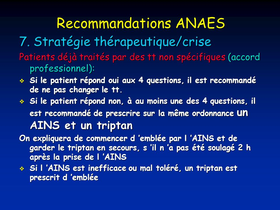 Recommandations ANAES 7.