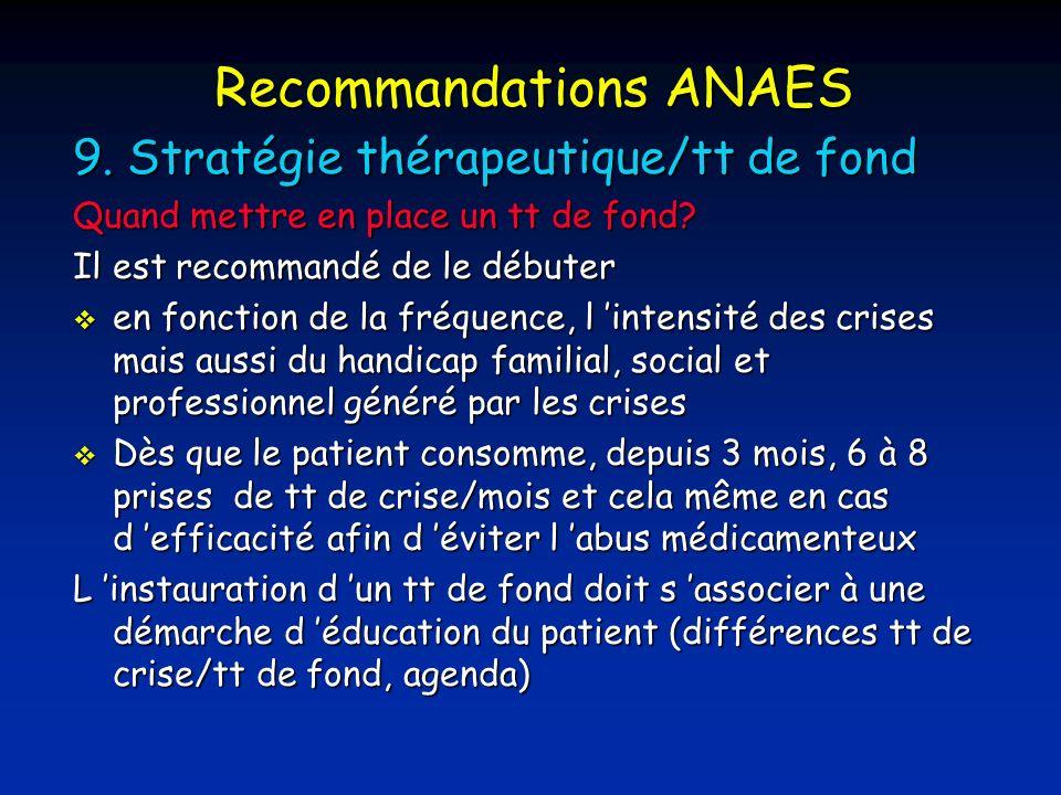 Recommandations ANAES 9.Stratégie thérapeutique/tt de fond Quand mettre en place un tt de fond.