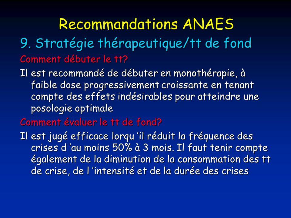 Recommandations ANAES 9.Stratégie thérapeutique/tt de fond Comment débuter le tt.