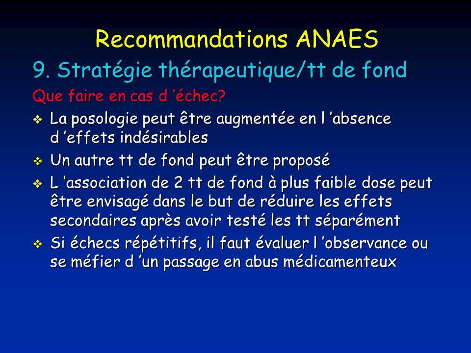 Recommandations ANAES 9.Stratégie thérapeutique/tt de fond Que faire en cas d échec.