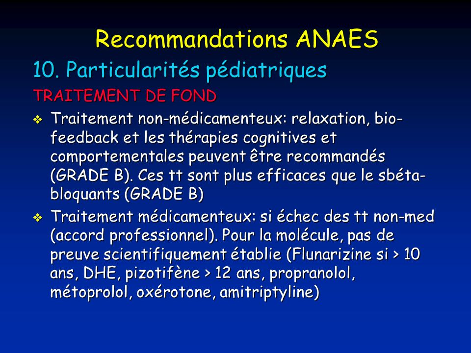 Recommandations ANAES 10.