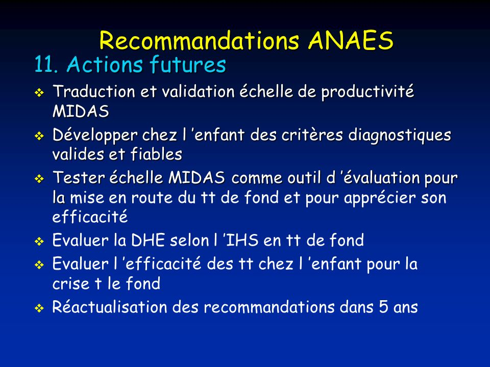 Recommandations ANAES 11.