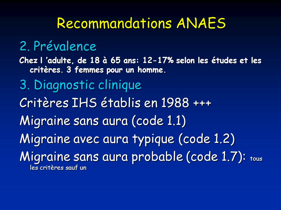 Recommandations ANAES 2.