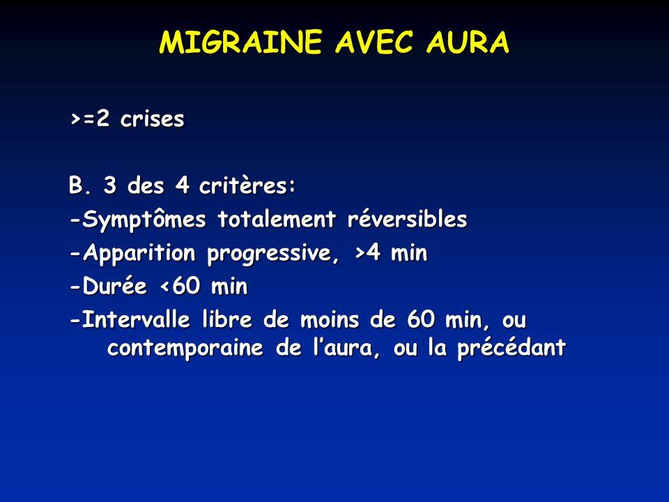 MIGRAINE AVEC AURA >=2 crises B.