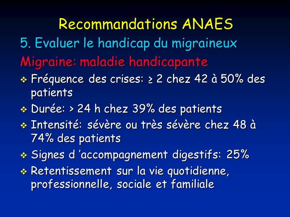 Recommandations ANAES 5.