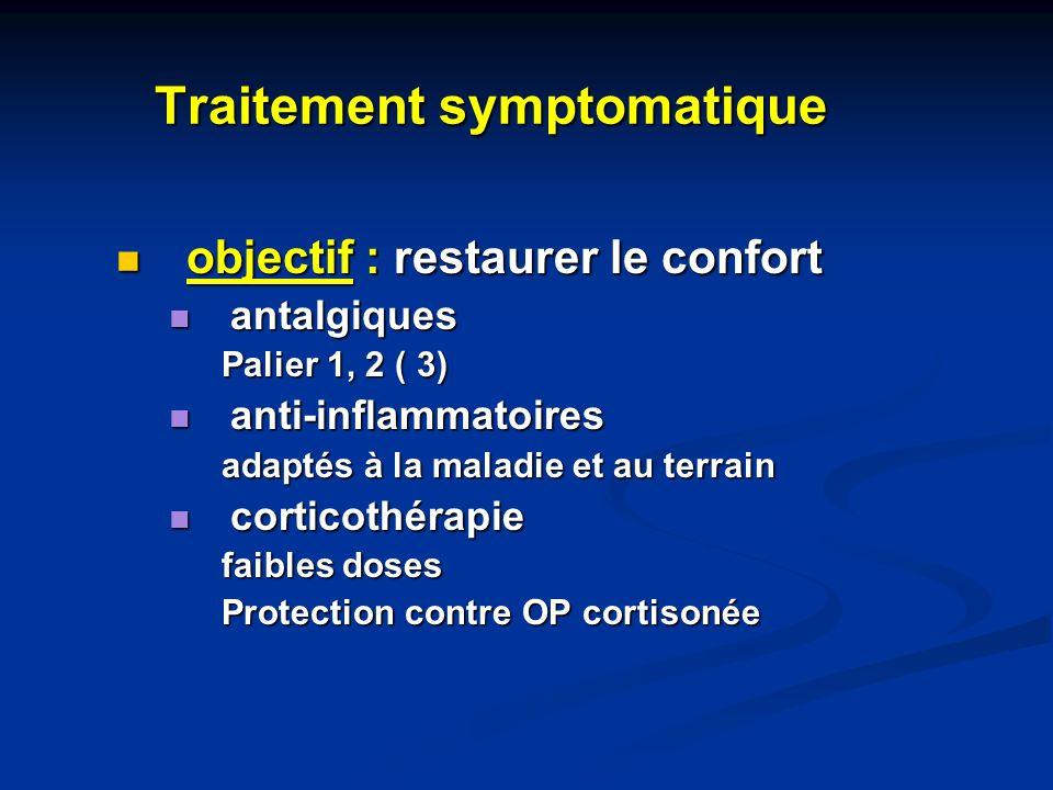 Traitement symptomatique objectif : restaurer le confort objectif : restaurer le confort antalgiques antalgiques Palier 1, 2 ( 3) anti-inflammatoires
