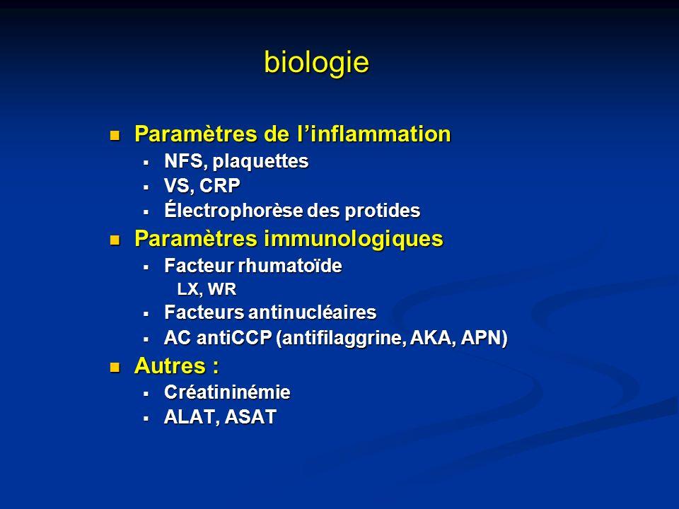 biologie Paramètres de linflammation Paramètres de linflammation NFS, plaquettes NFS, plaquettes VS, CRP VS, CRP Électrophorèse des protides Électroph