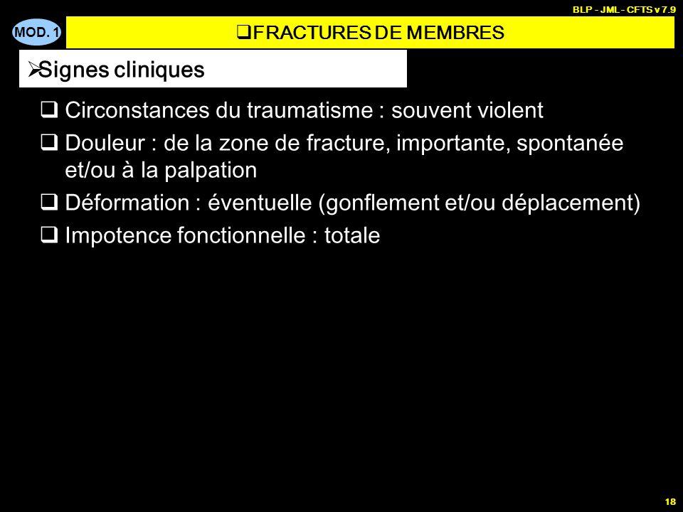 MOD. 1 BLP - JML - CFTS v 7.9 18 Circonstances du traumatisme : souvent violent Douleur : de la zone de fracture, importante, spontanée et/ou à la pal