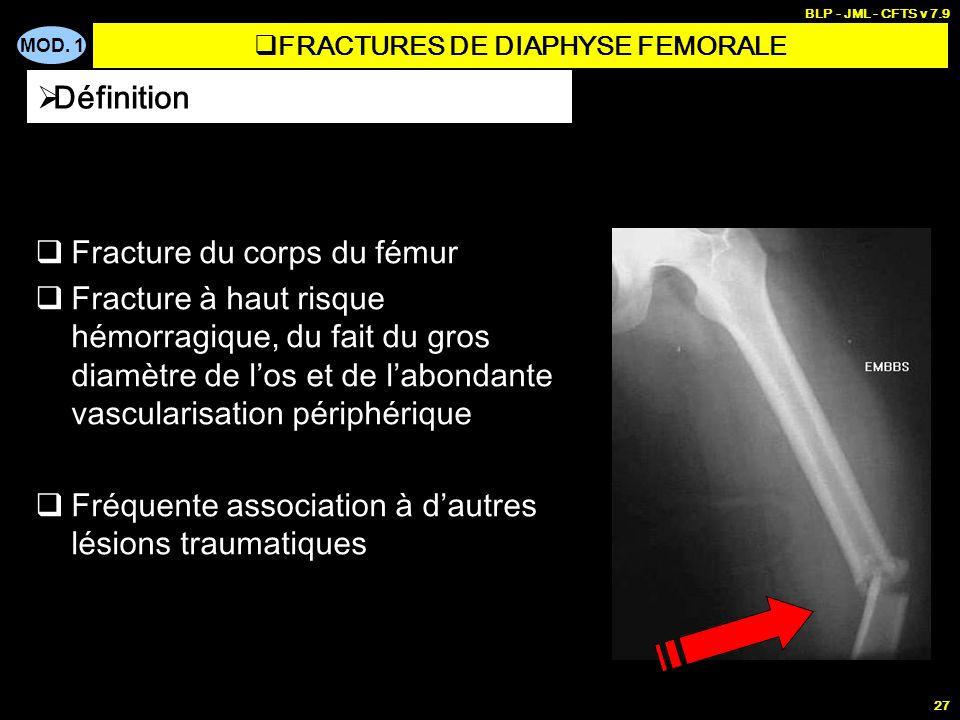 MOD. 1 BLP - JML - CFTS v 7.9 27 Fracture du corps du fémur Fracture à haut risque hémorragique, du fait du gros diamètre de los et de labondante vasc