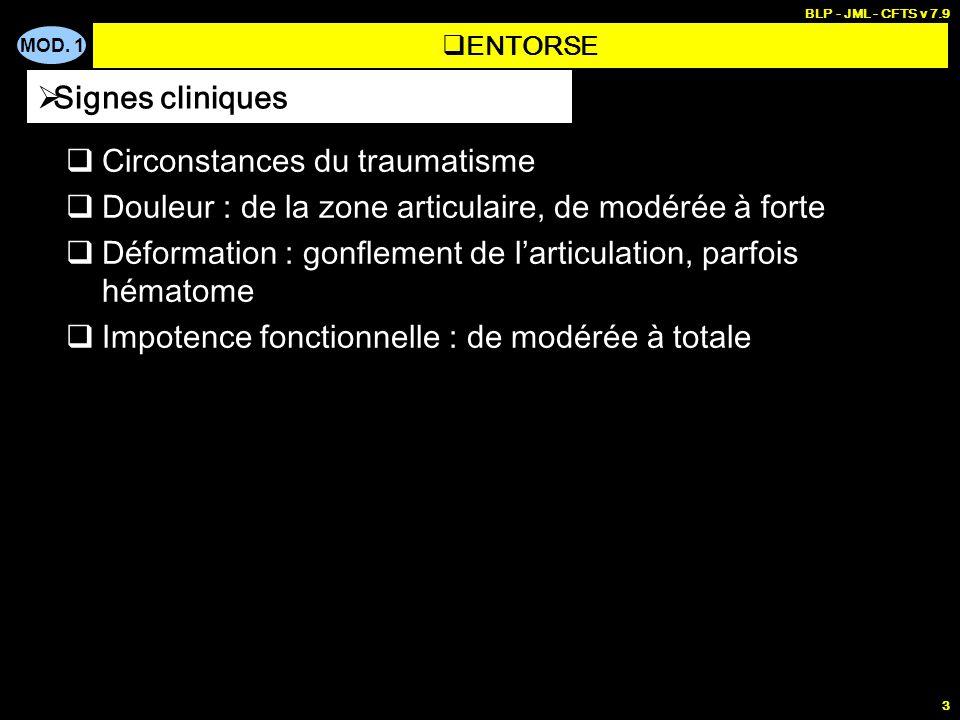 MOD. 1 BLP - JML - CFTS v 7.9 3 Circonstances du traumatisme Douleur : de la zone articulaire, de modérée à forte Déformation : gonflement de larticul