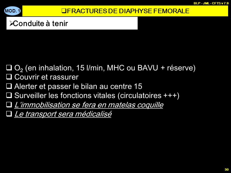 MOD. 1 BLP - JML - CFTS v 7.9 30 O 2 (en inhalation, 15 l/min, MHC ou BAVU + réserve) Couvrir et rassurer Alerter et passer le bilan au centre 15 Surv