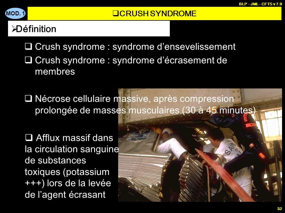 MOD. 1 BLP - JML - CFTS v 7.9 32 Crush syndrome : syndrome densevelissement Crush syndrome : syndrome décrasement de membres Nécrose cellulaire massiv
