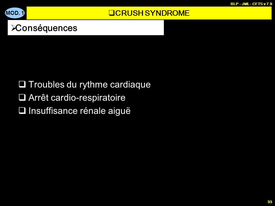 MOD. 1 BLP - JML - CFTS v 7.9 33 Troubles du rythme cardiaque Arrêt cardio-respiratoire Insuffisance rénale aiguë Conséquences CRUSH SYNDROME