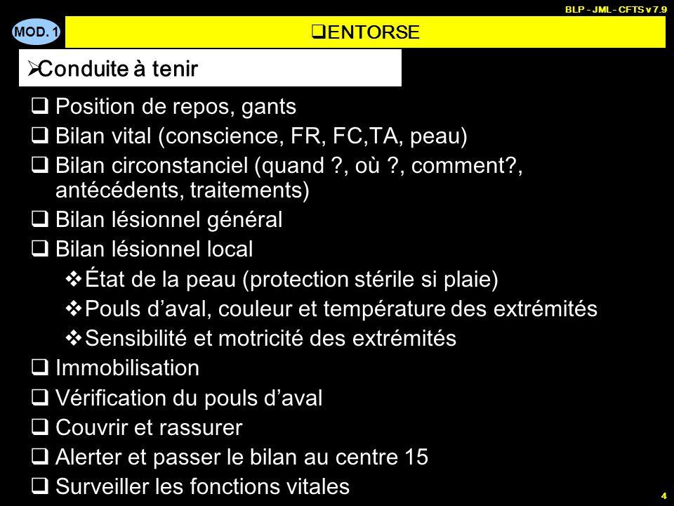 MOD. 1 BLP - JML - CFTS v 7.9 4 Position de repos, gants Bilan vital (conscience, FR, FC,TA, peau) Bilan circonstanciel (quand ?, où ?, comment?, anté