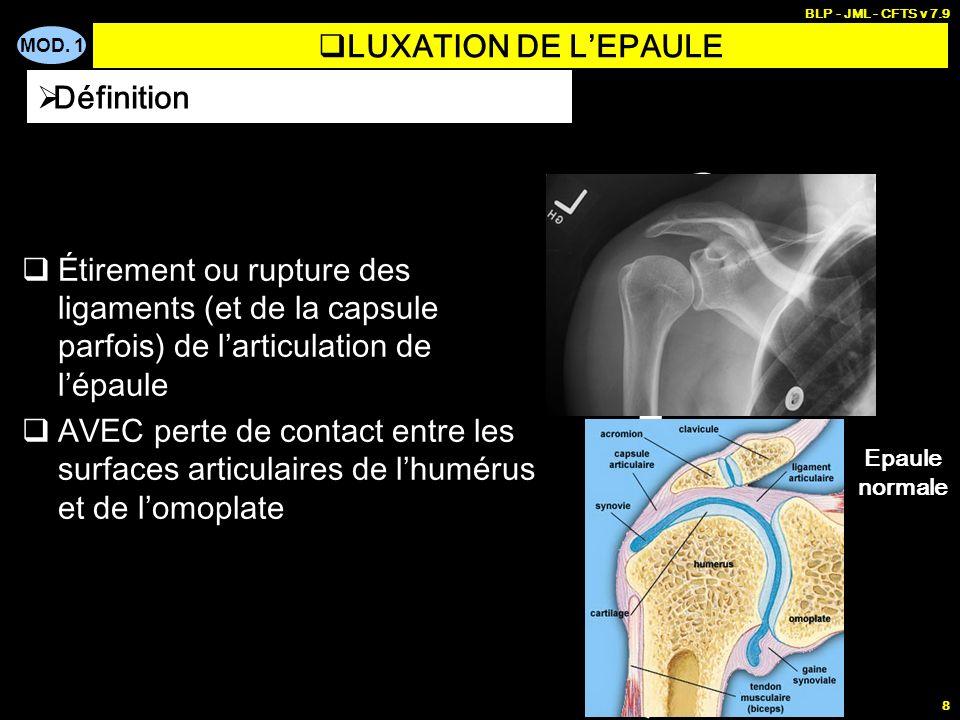 MOD. 1 BLP - JML - CFTS v 7.9 8 LUXATION DE LEPAULE Étirement ou rupture des ligaments (et de la capsule parfois) de larticulation de lépaule AVEC per