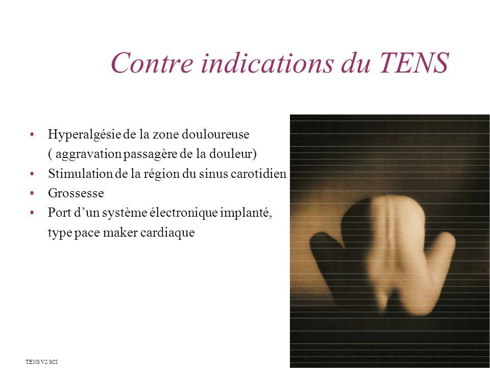 Contre indications du TENS Hyperalgésie de la zone douloureuse ( aggravation passagère de la douleur) Stimulation de la région du sinus carotidien Gro