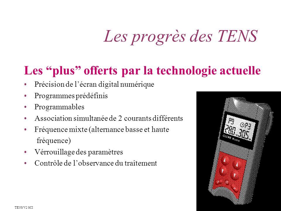 Les progrès des TENS Les plus offerts par la technologie actuelle Précision de lécran digital numérique Programmes prédéfinis Programmables Associatio